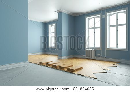 New parquet laid by Bodenleger during renovation in the old building (3D Rendering)