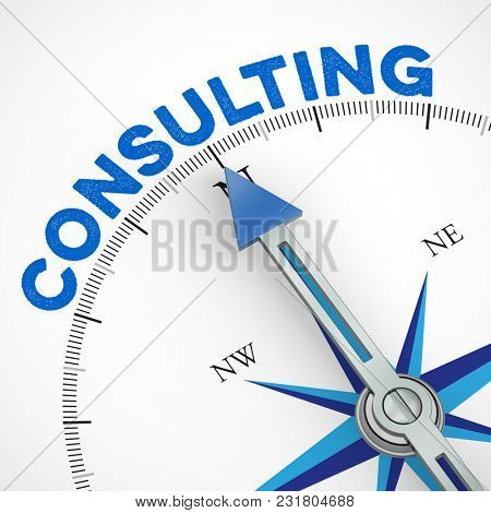 Consulting strategy as a business concept with arrow from a compass (3D Rendering)