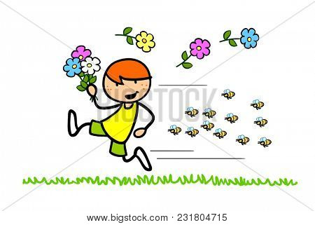 Cartoon child with flowers flees from aggressive bees