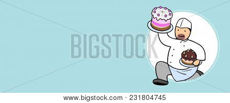 Cartoon pastry chef with pie and cake in his hands running