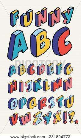 Vector Isometric Design Style Alphabet. Letter And 3d Alphabet, Alphabet Letters Outline Liner Hand