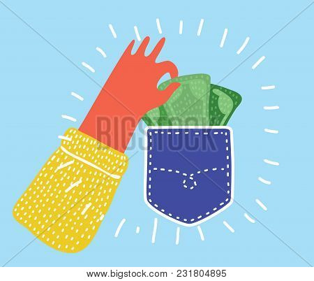Vector Cartoon Funny Illustration Of Pickpocket. Human Hand Takes Out Money Cash From Pocket. Theft,