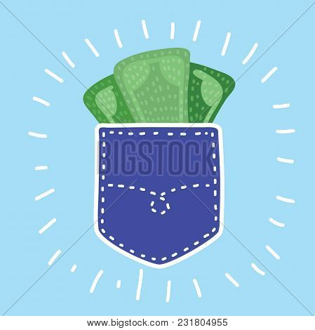 Vector Cartoon Funny Illustration Of Careless Put Money In Jeans Pocket. Financial Loss Concept.