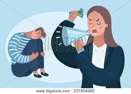 Vector Cartoon Illustration Of Angry Woman Boss Character Yelling Man. Family Problems, Pressure At