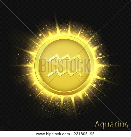 Aquarius Sign. Horoscope Symbol With Sparkles, Glitters And Stars