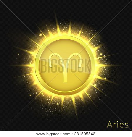 Aries Sign. Horoscope Symbol With Sparkles, Glitters And Stars