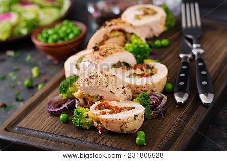 Chicken Roll With Stuffed Sun-dried Tomatoes And Cheese.