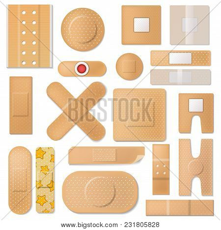 Bandage Vector Band Plaster And Medical Protection Patch For First Aid Illustration Set Of Sticky Ba
