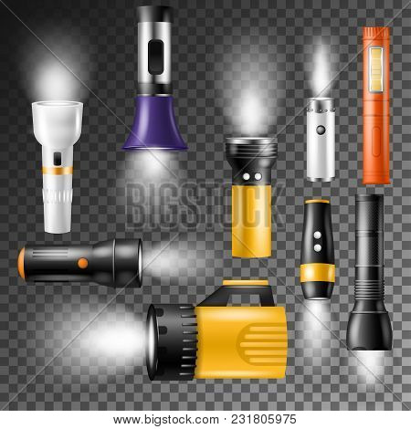 Flashlight Vector Flash-light Lighting With Spotlight Or Flash Illustration Set Of Lantern Or Flashi