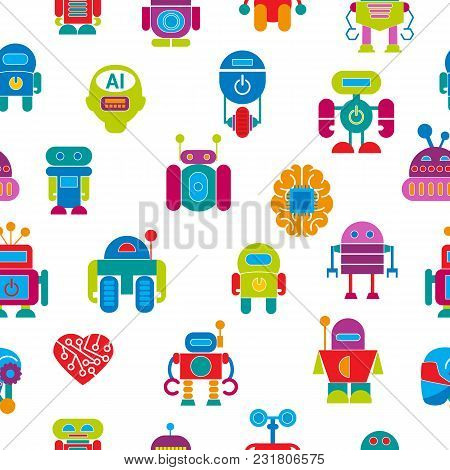 Vector Robot Technology Design Futuristic Kid Flat Baby Children Cyborg Robotic Character Machine Sc