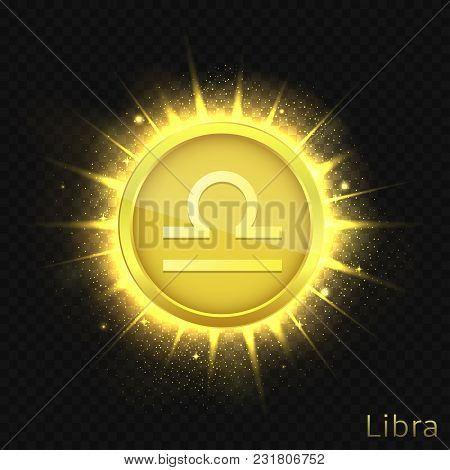Libra Sign. Horoscope Symbol With Sparkles, Glitters And Stars