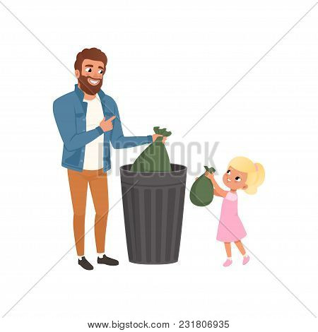 Father And His Little Daughter Throwing Garbage Into A Trash Can Together Vector Illustration Isolat