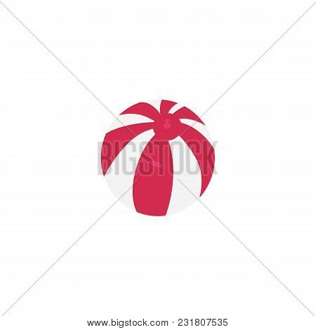 Vector Flat Travelling, Beach Vacation Symbol Beach Pink Striped Inflatable Ball Icon. Summer Holida