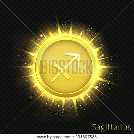 Sagittarius Sign. Horoscope Symbol With Sparkles, Glitters And Stars