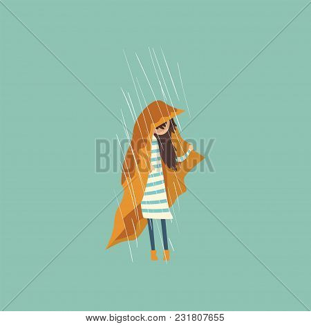 Heavy Rain Pouring On Sad Girl Under Yellow Cloth Vector Illustration, Cartoon Style