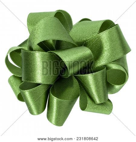 big round bow in green color isolated on white background