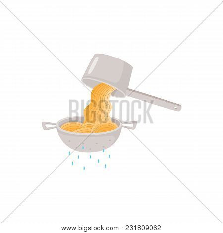 Cooking Instruction Of Preparing Instant Noodle With Draining Cooked Hot Spaghetti In Colander Isola