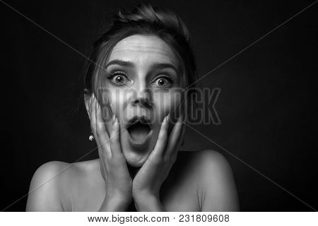 Fun Stressed Scared Girl In Dark Looking At Camera Screaming, Monochrome