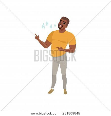 Cheerful African American Young Man Laughing Out Loud Vector Illustration Isolated On A White Backgr