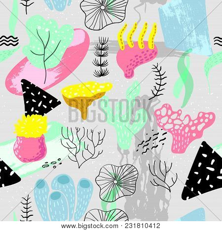 Underwater Seamless Pattern In Childish Style. Kids Background With Seaweeds, Corals And Abstract El