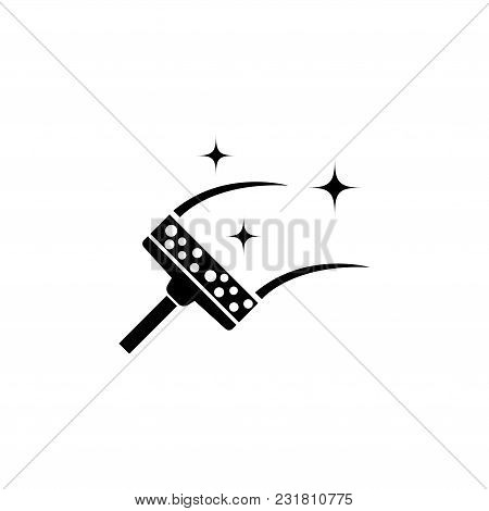 Cleaning Glass. Squeegee Scraper, Wiper. Flat Vector Icon. Simple Black Symbol On White Background