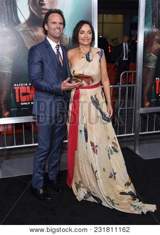 LOS ANGELES - MAR 12:  Walton Goggins and Nadia Conners arrives for the 'Tomb Raider' US Premiere on March 12, 2018 in Hollywood, CA