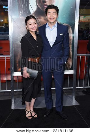LOS ANGELES - MAR 12:  Maia Shibutani and Alex Shibutani arrives for the 'Tomb Raider' US Premiere on March 12, 2018 in Hollywood, CA