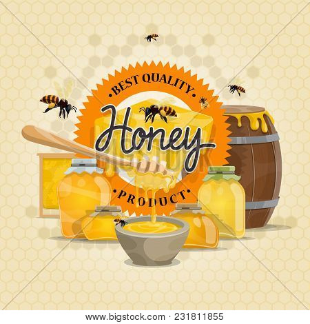 Honey Quality Product Design For Honey Label Or Poster Of Bees And Honeycomb Background. Vector Flat
