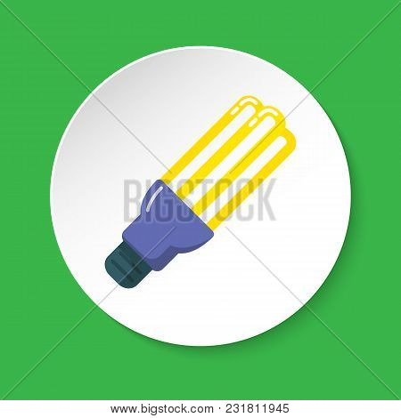 Energy Saving Fluorescent Light Bulb Icon In Flat Style On Round Button. Economical Lamp Symbol Isol