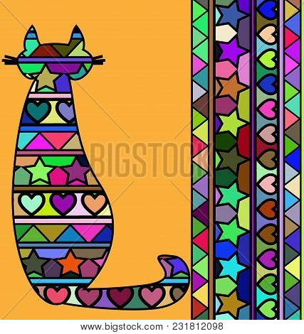 Abstract Colored Background Image Of Cat Consisting Of Lines And Figures