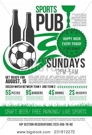 Soccer Sports Bar Menu Template For Football Championship Happy Hour Specials On Pizza, Burgers And