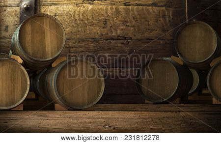 Wine Barrels In Wine-vaults In Order Background, Retro,