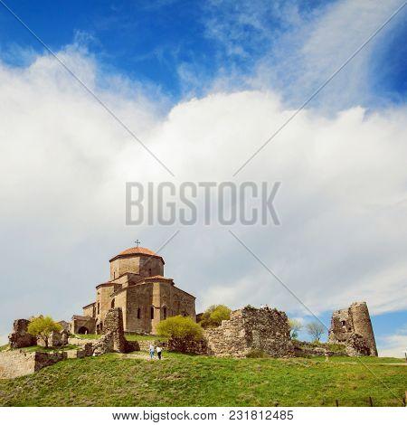 Jvari Monastery. It is a sixth century Georgian Orthodox monastery near Mtskheta, eastern Georgia. it is listed as a World Heritage site by UNESCO.