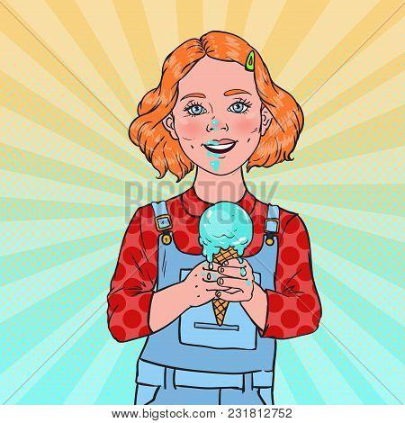 Pop Art Little Girl Eating Tasty Ice Cream. Cute Happy Child Tastes Cold Cone Dessert. Vector Illust