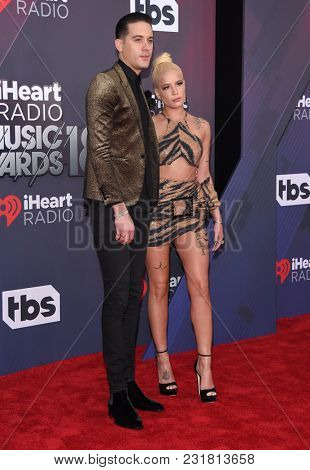 LOS ANGELES - MAR 11:  G-Eazy and Halsey arrives for the 2018 iHeartRadio Music Awards on March 11, 2018 in Los Angeles, CA