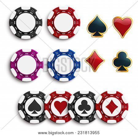 Casino Poker Chips Or Gambling Tokens With Playing Cards Suits. Vector Isolated Poker Game Chips Wit
