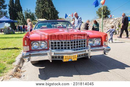Beit Nir, Israel - March 17, 2018: Vintage Cadillac Eldorado Car Presented On Oldtimer Car Show, Isr
