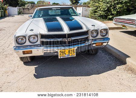 Beit Nir, Israel - March 17, 2018: Vintage Chevrolet Chevelle Ss Car Presented On Oldtimer Car Show,