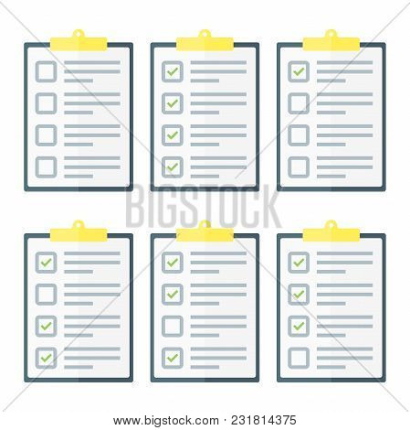 Claim Form Set, To Do List. Flat Style Isolated On A White Background. Vector Illustration.