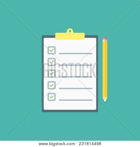 Claim Form, To Do List. Flat Style Isolated On A Blue Background. Vector Illustration.