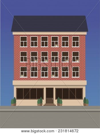 Residential Multi-storey House Made Of Red Brick With A Shop On The First Floor. Vector Illustration