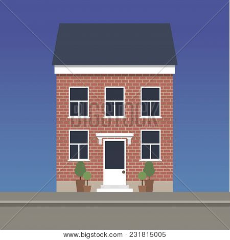 Two-story Classic House Made Of Red Brick.