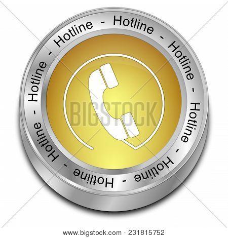 Decorative Golden Hotline Button - 3d Illustration