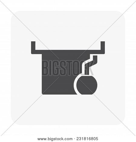 Roof Deck And Drainage Equipment Icon On White.