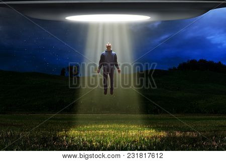 Ufo Alien Space Ship Abduction Human At Night