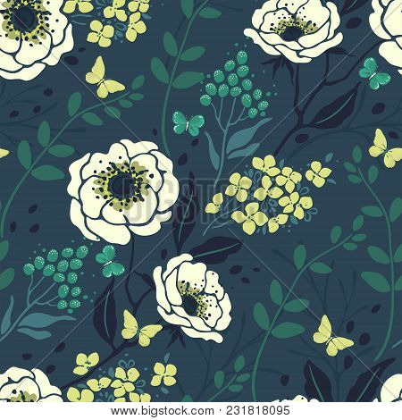 Seamless Floral Pattern With Flowers Anemone, Hydrangea, Branches And Butterflies. Vector Nature Ill