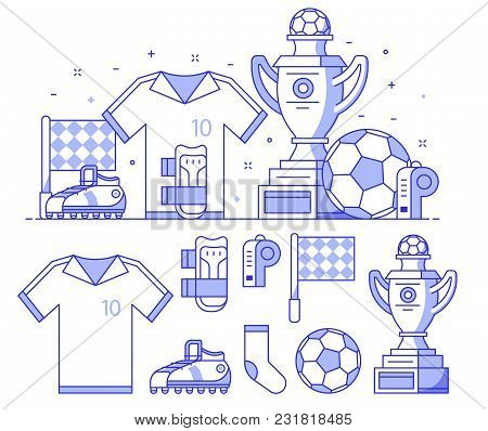 Soccer Icons With Training Equipment And Playing Elements. Football Championship Concept With Winner