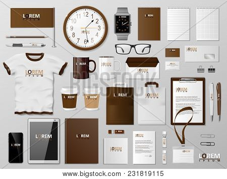Corporate Branding Identity Template Brown Design. Modern Stationery Mockup. Business Style Statione