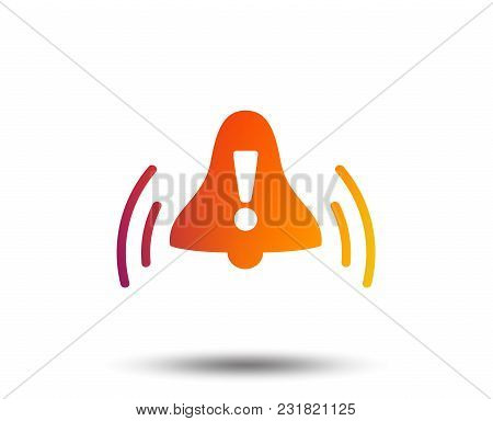 Alarm Bell With Exclamation Mark Sign Icon. Wake Up Alarm Symbol. Blurred Gradient Design Element. V