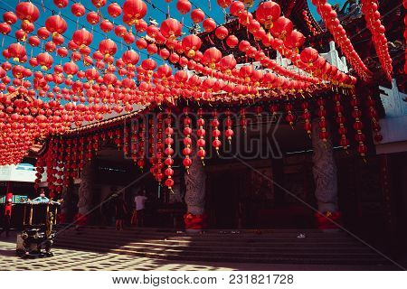 Decorated Territory Thean Hou Temple. Kuala Lumpur Attraction. Travel To Malaysia. Religious Backgro